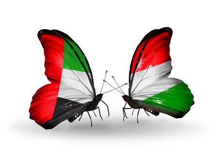 arabe: Dos mariposas con banderas en las alas como símbolo de las relaciones de Emiratos Árabes Unidos y Hungría Foto de archivo