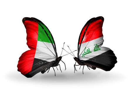 iraq money: Two butterflies with flags on wings as symbol of relations UAE and Iraq