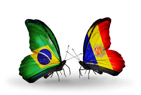 Two butterflies with flags on wings as symbol of relations Brazil and Andorra photo