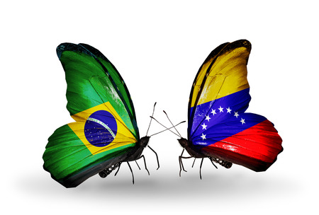 Two butterflies with flags on wings as symbol of relations Brazil and Venezuela