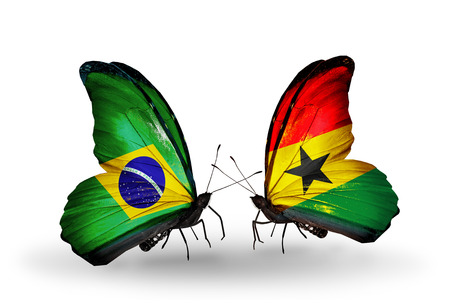 Two butterflies with flags on wings as symbol of relations Brazil and Ghana