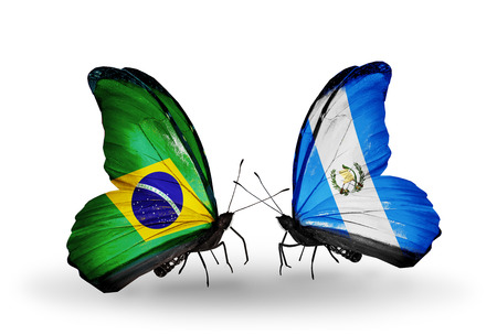 Two butterflies with flags on wings as symbol of relations Brazil and Guatemala Stock Photo