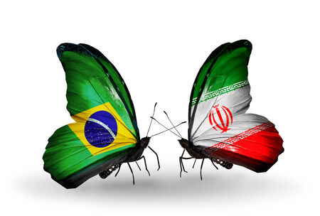 Two butterflies with flags on wings as symbol of relations Brazil and Iran