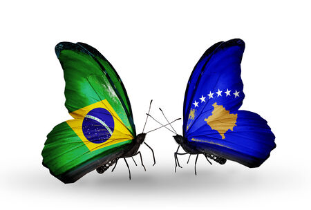 Two butterflies with flags on wings as symbol of relations Brazil and Kosovo photo