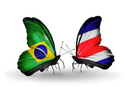 Two butterflies with flags on wings as symbol of relations Brazil and Costa Rica