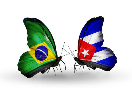 Two butterflies with flags on wings as symbol of relations Brazil and Cuba photo