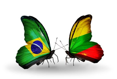 Two butterflies with flags on wings as symbol of relations Brazil and Lithuania