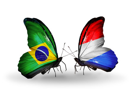 Two butterflies with flags on wings as symbol of relations Brazil and Luxembourg