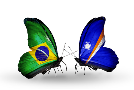 Two butterflies with flags on wings as symbol of relations Brazil and Marshall islands photo