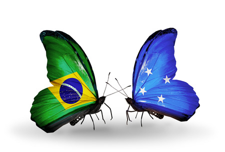 Two butterflies with flags on wings as symbol of relations Brazil and Micronesia