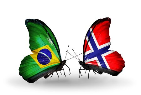 Two butterflies with flags on wings as symbol of relations Brazil and Norway Stock Photo