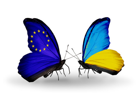 Two butterflies with flags on wings as symbol of relations EU and Ukraine photo