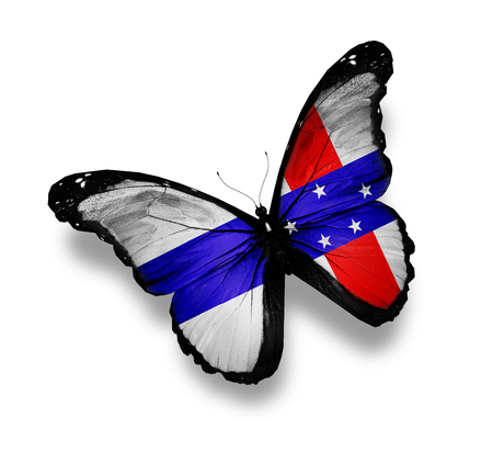 antilles: Netherlands Antilles flag butterfly, isolated on white