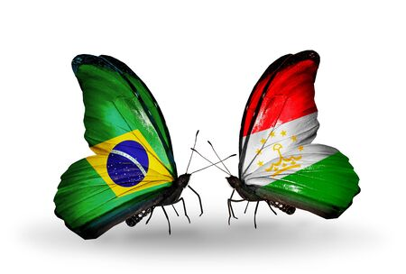 Two butterflies with flags on wings as symbol of relations Brazil and Tajikistan photo
