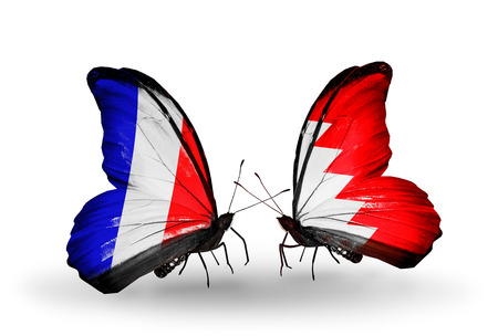 bahrain money: Two butterflies with flags on wings as symbol of relations France and  Bahrain