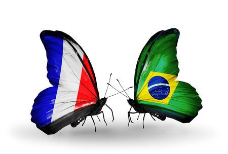 bandera francia: Dos mariposas con banderas en las alas como s�mbolo de las relaciones de Francia y Brasil Foto de archivo