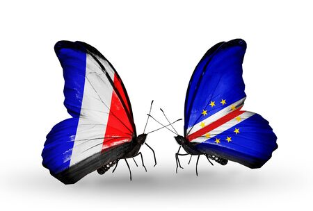 cape verde flag: Two butterflies with flags on wings as symbol of relations France and Cape Verde