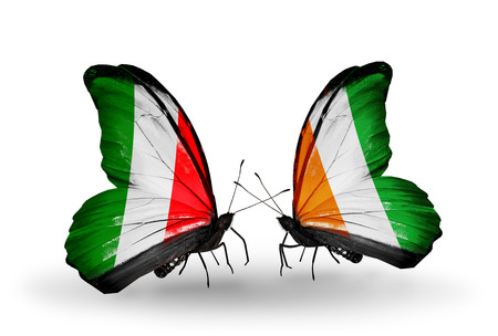 Two butterflies with flags on wings as symbol of relations Italy and Cote Divoire photo