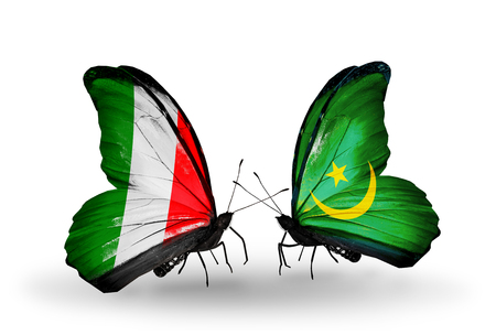 Two butterflies with flags on wings as symbol of relations Italy and Mauritania photo