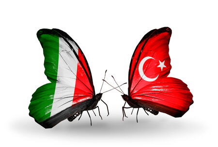 Two butterflies with flags on wings as symbol of relations Italy and Turkey photo