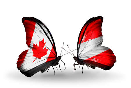 canadian military: Two butterflies with flags on wings as symbol of relations Canada and Austria