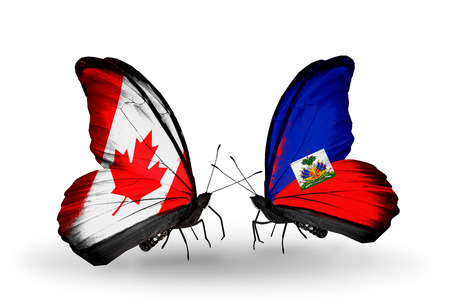 canadian military: Two butterflies with flags on wings as symbol of relations Canada and Haiti