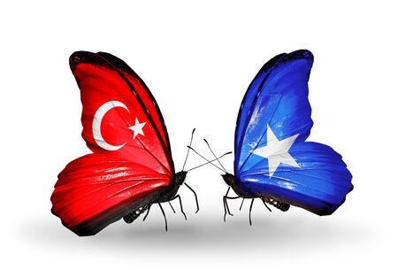 Two butterflies with flags on wings as symbol of relations Turkey and Somalia Stock Photo