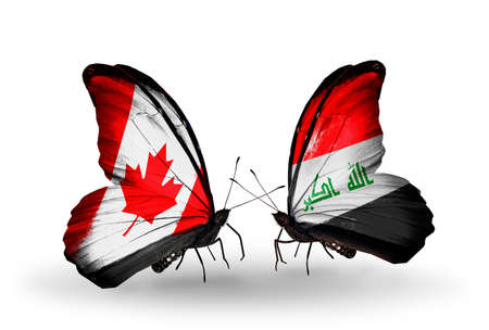 iraq money: Two butterflies with flags on wings as symbol of relations Canada and Iraq Stock Photo