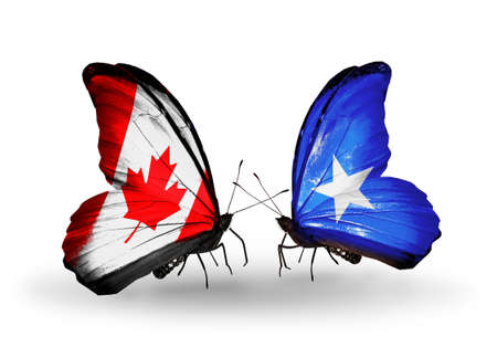Two butterflies with flags on wings as symbol of relations Canada and Somalia photo