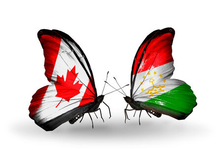 economy of tajikistan: Two butterflies with flags on wings as symbol of relations Canada and Tajikistan Stock Photo