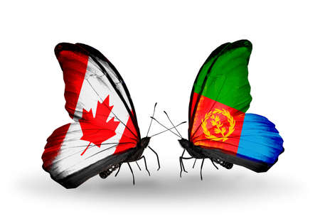 Two butterflies with flags on wings as symbol of relations Canada and Eritrea photo
