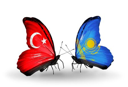 Two butterflies with flags on wings as symbol of relations Turkey and Kazakhstan photo