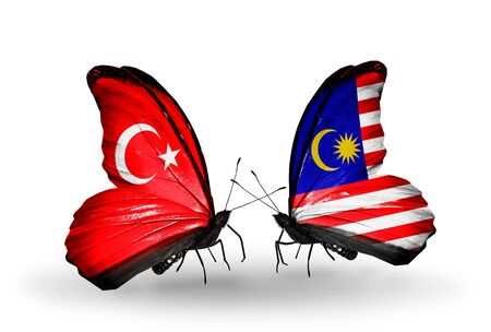 Two butterflies with flags on wings as symbol of relations Turkey and Malaysia photo