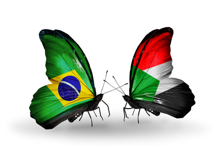 Two butterflies with flags on wings as symbol of relations Brazil and Sudan Stock Photo