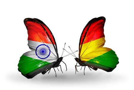 Two butterflies with flags on wings as symbol of relations India and Bolivia photo