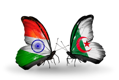 Two butterflies with flags on wings as symbol of relations India and Algeria photo