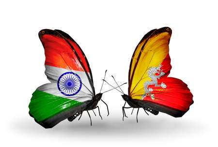 Two butterflies with flags on wings as symbol of relations India and Bhutan photo