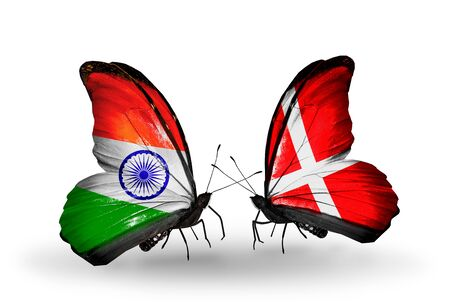 Two butterflies with flags on wings as symbol of relations India and Denmark photo