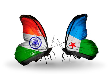 Two butterflies with flags on wings as symbol of relations India and Djibouti Stock Photo