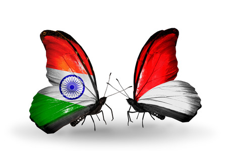 Two butterflies with flags on wings as symbol of relations India and Monaco, Indonesia photo
