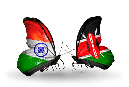 Two butterflies with flags on wings as symbol of relations India and Kenya photo