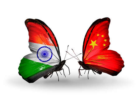 Two butterflies with flags on wings as symbol of relations India and China photo