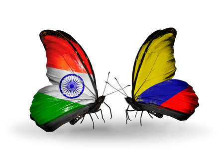 Two butterflies with flags on wings as symbol of relations India and Columbia photo