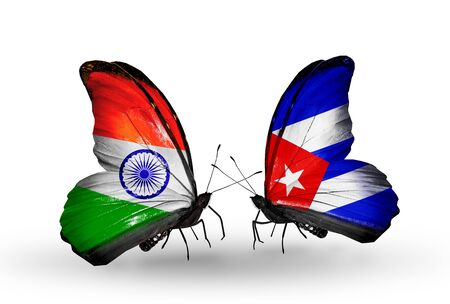 Two butterflies with flags on wings as symbol of relations India and Cuba photo