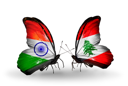 Two butterflies with flags on wings as symbol of relations India and Lebanon photo