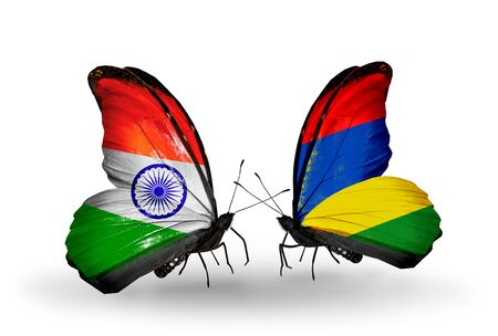 Two butterflies with flags on wings as symbol of relations India and Mauritius photo