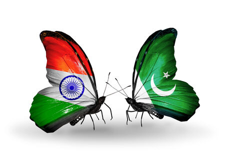 Two butterflies with flags on wings as symbol of relations India and Pakistan photo