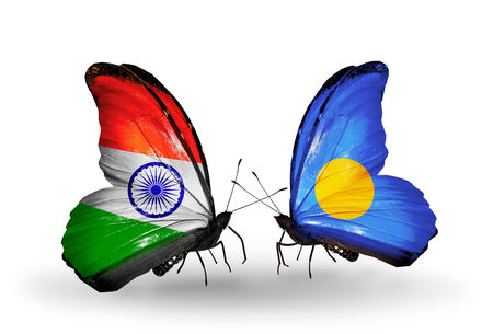 Two butterflies with flags on wings as symbol of relations India and Palau photo
