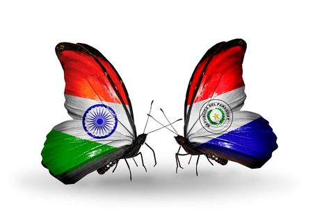 Two butterflies with flags on wings as symbol of relations India and Paraguay photo