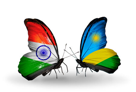 Two butterflies with flags on wings as symbol of relations India and Rwanda photo